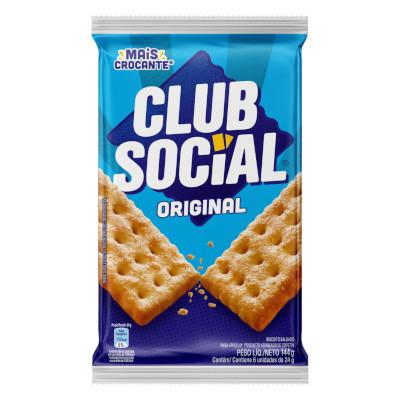 Biscoito salgado sabor original 144g Club Social pacote PCT