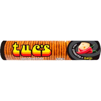 Biscoito salgado sabor pimenta e queijo 100g Tuc's pacote PCT