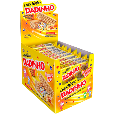 Biscoito wafer lanchinho dadinho 18 unidades Dadinho caixa CX