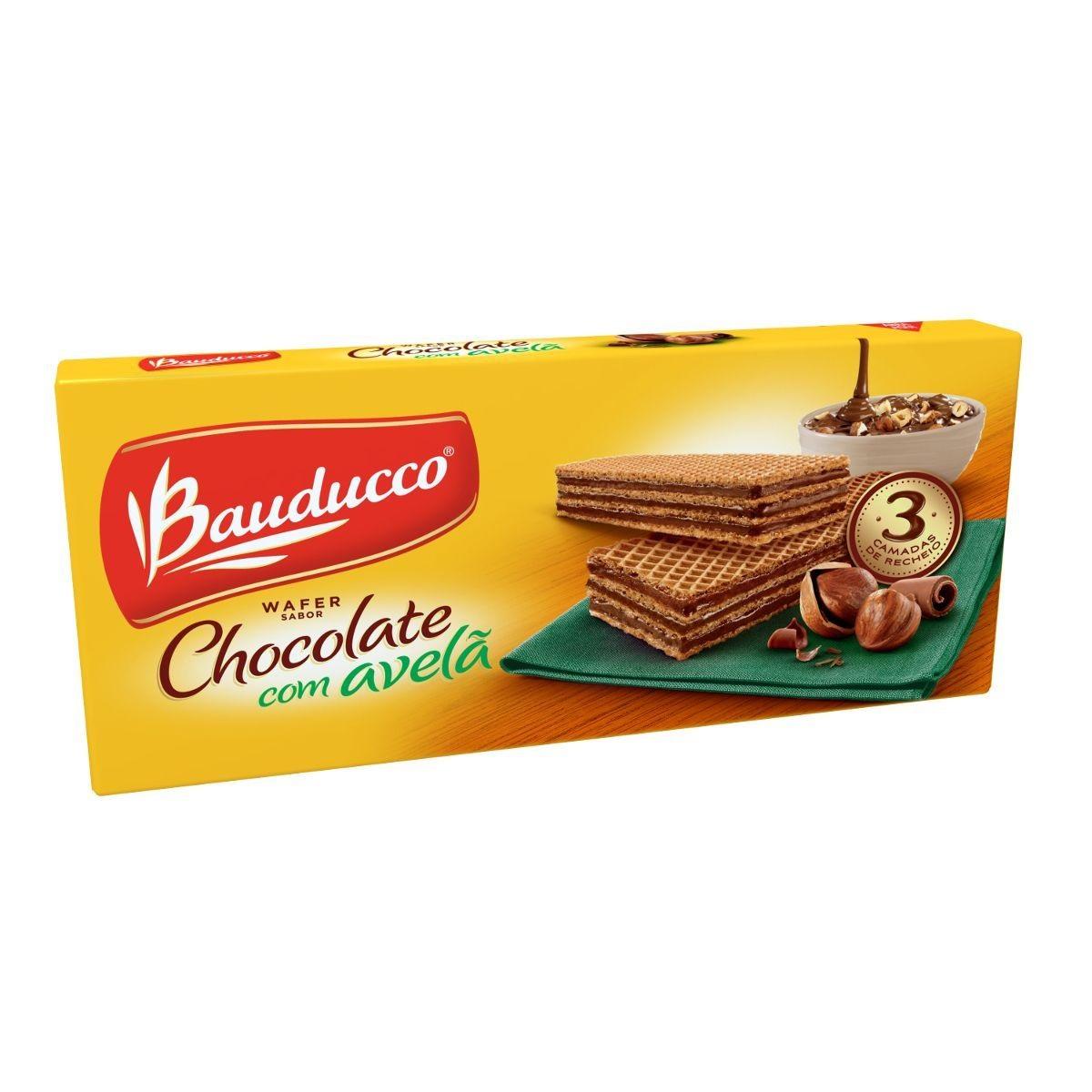 Biscoito wafer sabor chocolate com avelã 140g Bauducco pacote PCT