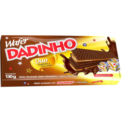 Biscoito wafer sabor chocolate duplo 130g Dadinho pacote PCT
