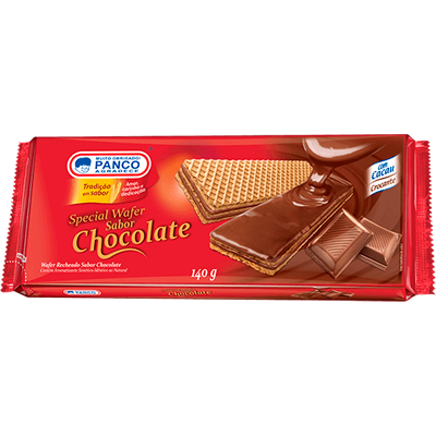 Biscoito wafer sabor chocolate 140g Panco pacote PCT