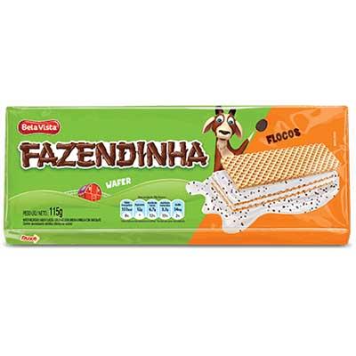 Biscoito wafer sabor flocos 115g Fazendinha pacote PCT