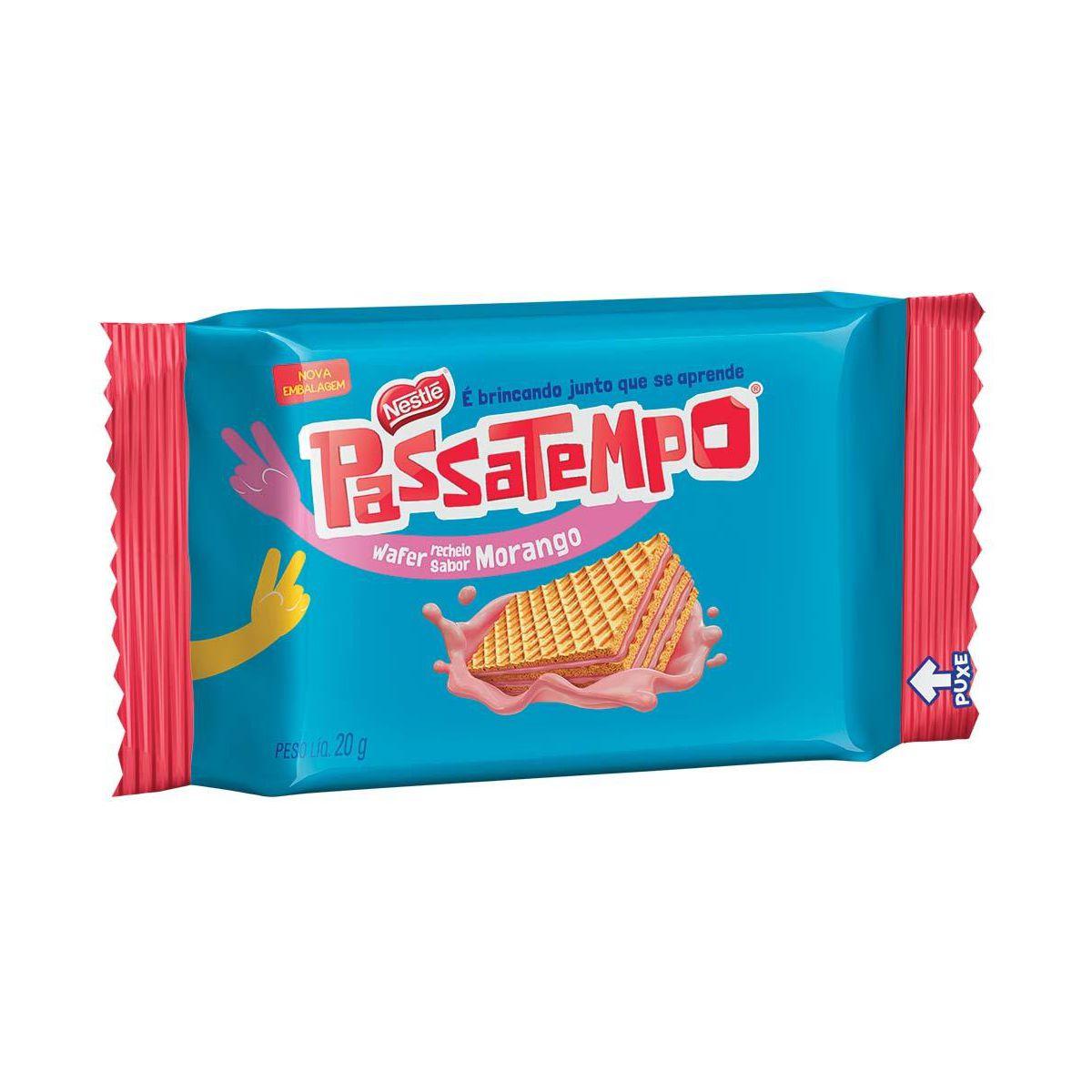 Biscoito wafer sabor morango 20g Passatempo em sachês UN