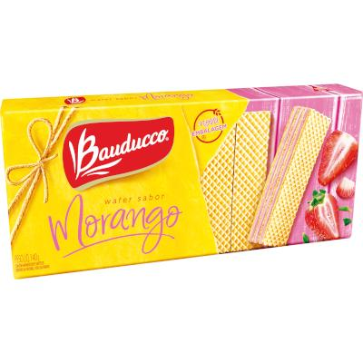 Biscoito wafer sabor morango pacote 140g Bauducco PCT