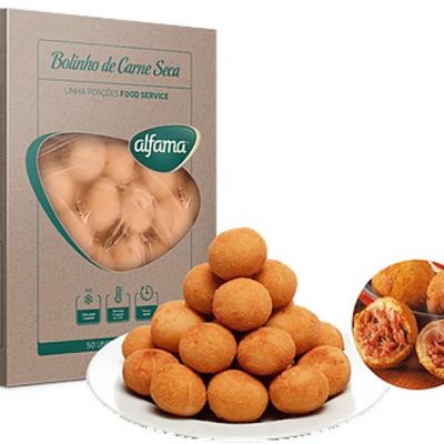 Bolinho de carne seca congelado 50 unidades Alfama pacote 1,4kg PCT