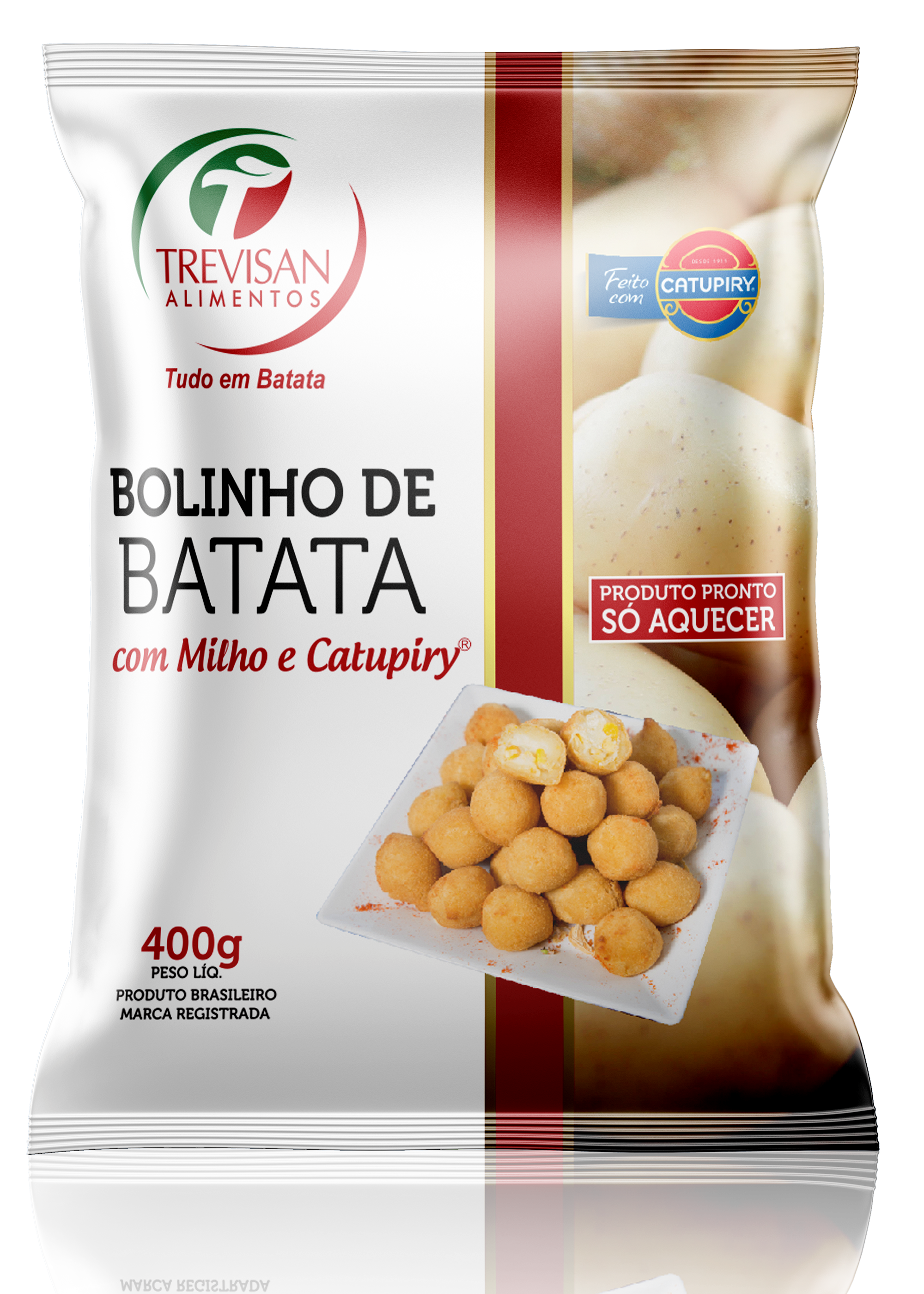 Bolinho de milho e catupiry com massa de batata congelado 25g pacote 400g Trevisan UN