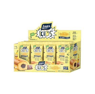 Bolinho sabor banana e recheio de cacau 12 unidades de 35g Linea Kids caixa CX