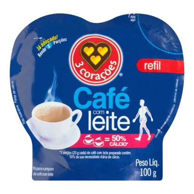 Café solúvel com leite 100g 3 Corações pacote PCT