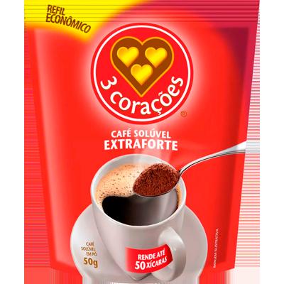 Café solúvel extra forte pacote 50g 3 Corações PCT