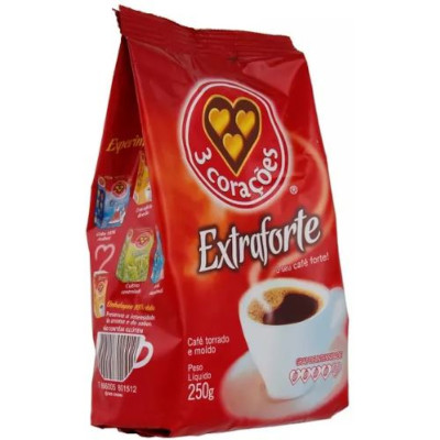 Café torrado e moído extra forte (em pó) 250g 3 Corações almofada UN