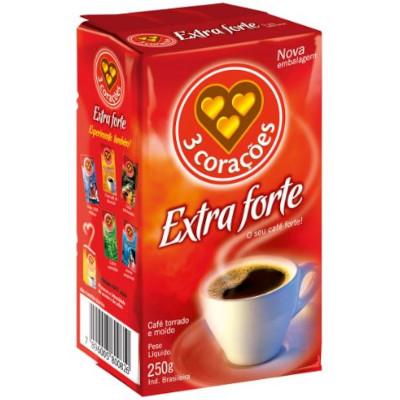 Café torrado e moído extra forte (em pó) 250g 3 Corações vácuo UN