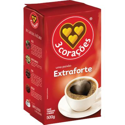Café torrado e moído extra forte (em pó) 500g 3 Corações vácuo UN