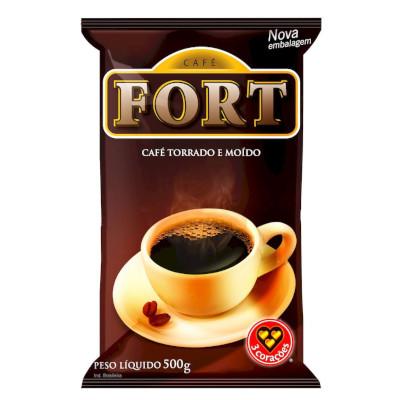 Café torrado e moído forte (em pó) 500g Fort/3 Corações almofada UN