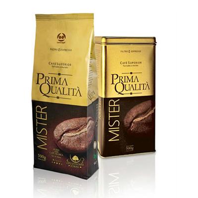 Café torrado e moído gourmet (em pó) kit 500g Prima Qualitá Mister (almofada 500g + lata) UN