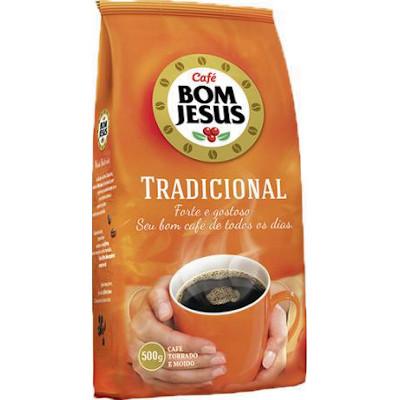 Café torrado e moído tradicional (em pó) 500g Bom Jesus almofada UN