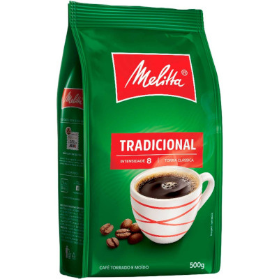 Café torrado e moído tradicional (em pó) 500g Melitta almofada UN