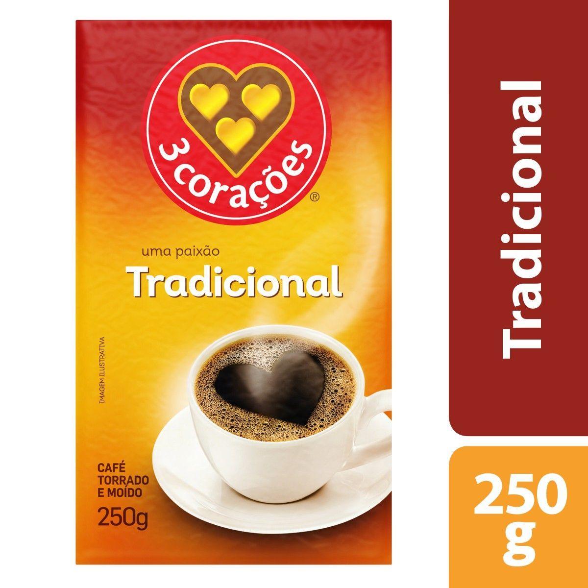 Café torrado e moído tradicional (em pó) 250g 3 Corações vácuo UN