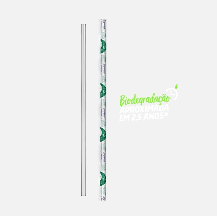 Canudo descartável biodegradável embalado 19,5cm x 5mm 500 unidades Strawplast pacote PCT