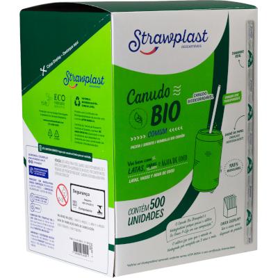 Canudo descartável biodegradável embalado pacote 500 unidades Cristal PCT