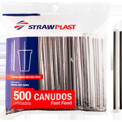 Canudo descartável embalado para refrigerante preto 6mm 500 unidades Strawplast pacote PCT