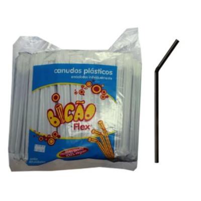 Canudo descartável sanfonado embalado para refrigerante preto 500 unidades Bicão pacote PCT