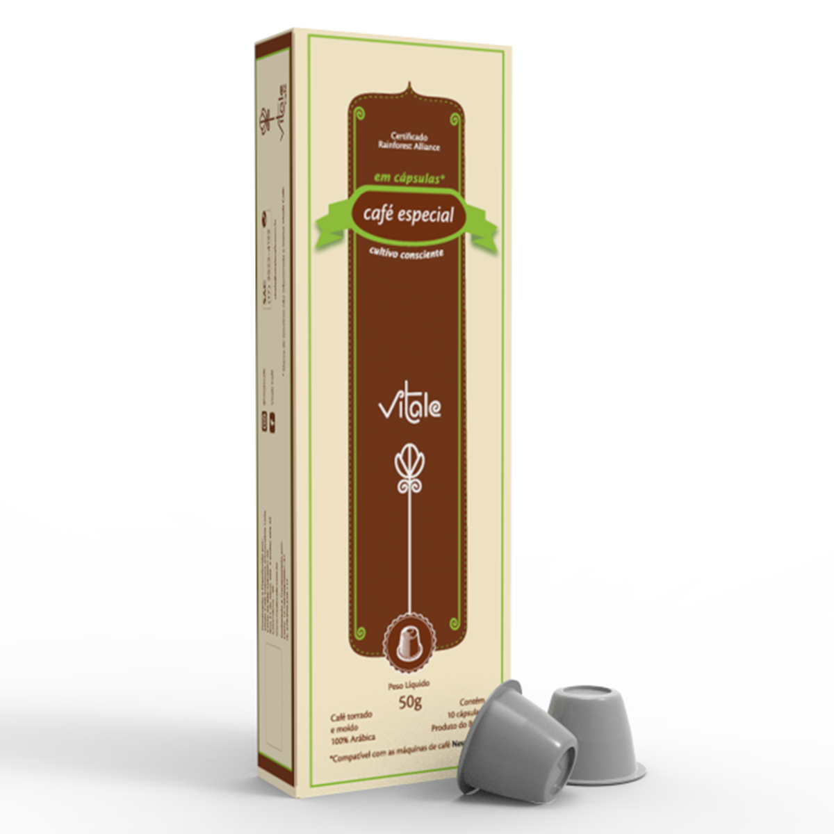 Cápsulas de Café gourmet para máquinas nespresso 10 unidades de 5g Vitale Café caixa CX