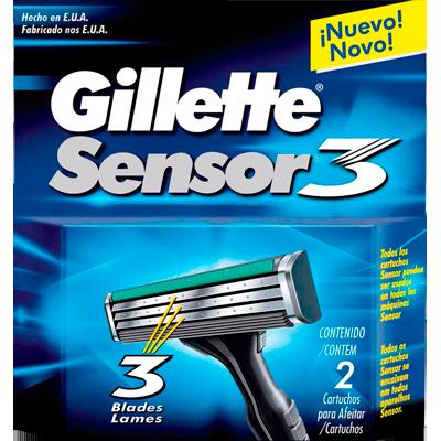 Carga para Aparelho de Barbear modelo Sensor 3 embalagem 2 unidades Gillette UN