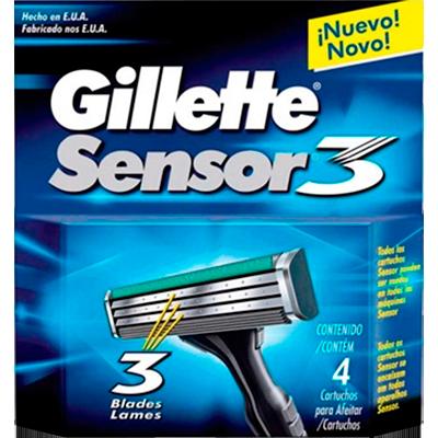 Carga para Aparelho de Barbear modelo Sensor 3 4 unidades Gillette embalagem UN