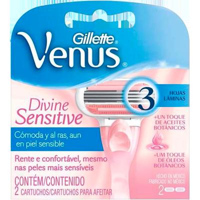 Carga para Aparelho de Barbear modelo Venus 3 Divine 2 unidades Gillette Venus 3 embalagem UN