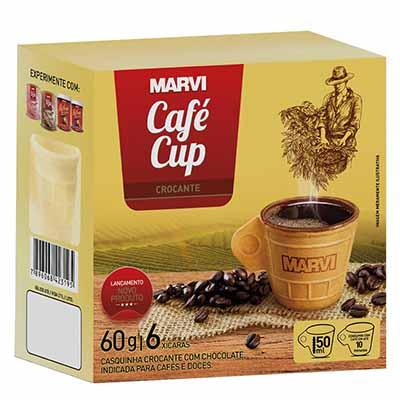 Casquinha crocante com chocolate em formato de xícara caixa 6 unidades Marvi CX
