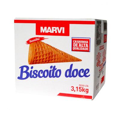 Casquinha de sorvete biscoito doce 300 unidades Marvi caixa CX