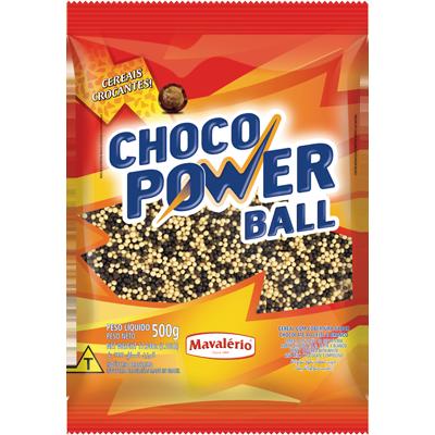 Cereal com cobertura ao leite e branco micro 500g Choco Power Ball/Mavalério pacote PCT