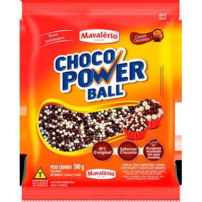 Cereal com cobertura ao leite e branco pacote 500g Choco Power Ball/Mavalério PCT
