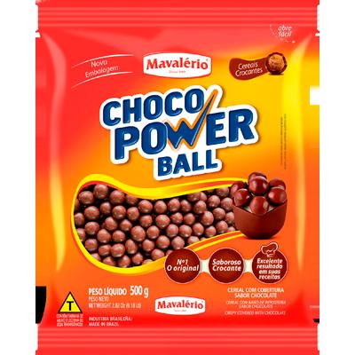 Cereal com cobertura chocolate ao leite 500g Choco Power Ball/Mavalério pacote PCT