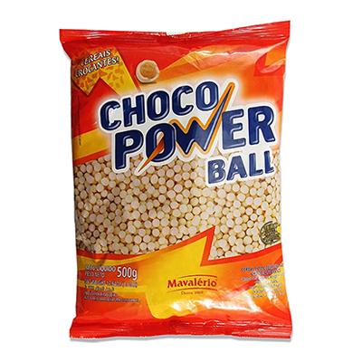 Cereal com cobertura chocolate branco 500g Choco Power Ball/Mavalério pacote PCT
