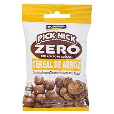 Cereal de Arroz com cobertura de chocolate zero açúcar unidade 30g Pick Nick/Montevergine UN