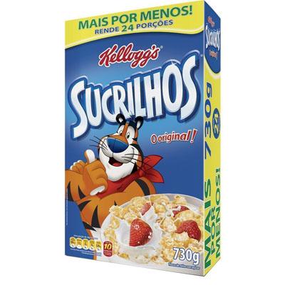 Cereal Matinal de flocos de milho com açúcar 730g Kellogg's/Sucrilhos Caixa UN