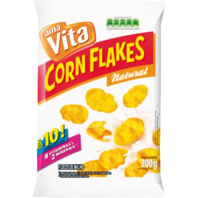 Cereal Matinal de Flocos de Milho Natural 200g Corn/Flakes Amavita pacote UN