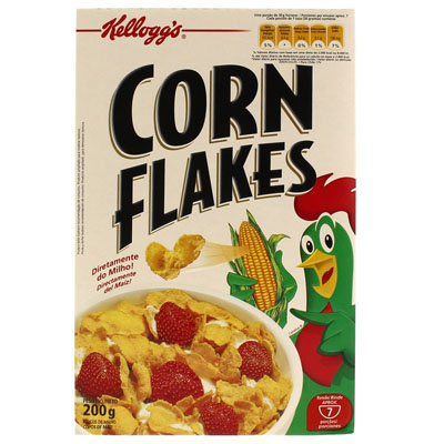 Cereal Matinal de flocos de milho sem açúcar pacote 200g Kellogg's/Corn Flakes UN