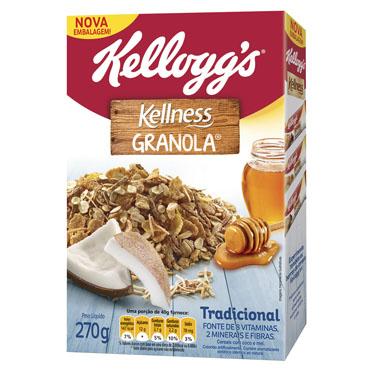 Cereal Matinal de granola com coco e mel 270g Kellness pacote UN
