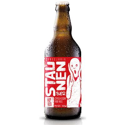 Cerveja artesanal Hop Red garrafa não retornável 500ml Staunen Bier UN