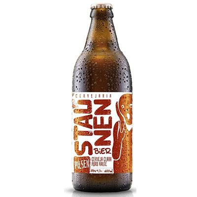 Cerveja artesanal Pilsen 600ml Staunen Bier garrafa não retornável UN