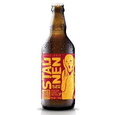 Cerveja artesanal Porter Pepper 500ml Staunen Bier garrafa não retornável UN