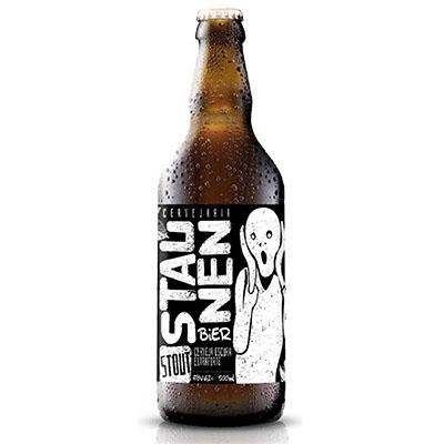 Cerveja artesanal Stout 500ml Staunen Bier garrafa não retornável UN