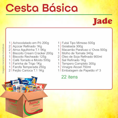 Cesta Básica Jade 22 itens Humax Alimentos caixa CX