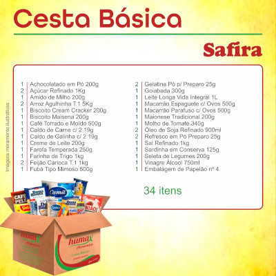 Cesta Básica Safira 34 itens Humax Alimentos caixa CX