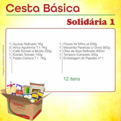 Cesta Básica Solidária 1 12 itens Humax Alimentos caixa CX