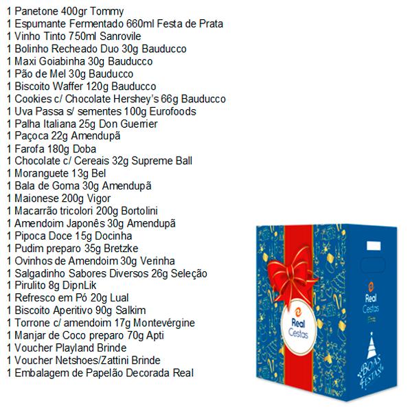 Cesta de Natal Amizade 30 itens Real Cestas caixa UN
