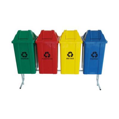 Cesto de lixo coleta seletiva capacidade 60 litros unidade JSN conjunto com 4 lixeiras UN
